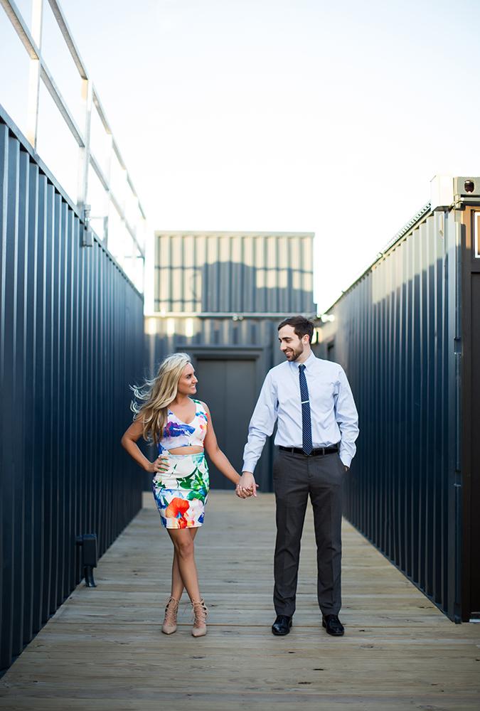 Bride and Groom having fun at the boxyard