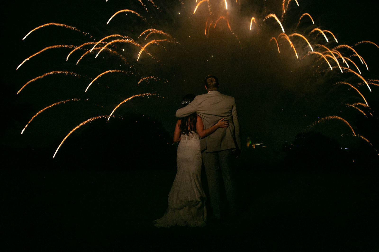 Bride and Groom at Tulsa County Club enjoying fireworks